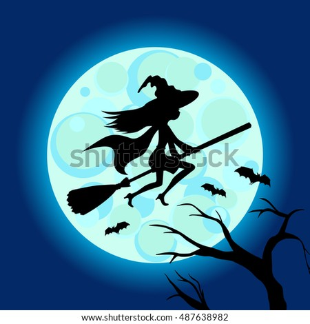 Halloween illustration of mysterious night with full moon and flying witch.