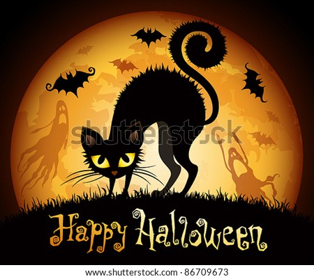 Halloween illustration with black cat on moon background. Check my portfolio for raster version. - stock vector