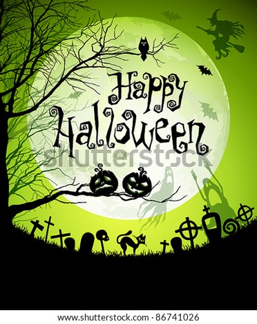 Halloween illustration with black silhouettes on moon background. Vector illustration. Check my portfolio for raster version. - stock vector