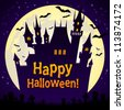 Halloween illustration with castle and bats on full moon background - stock vector