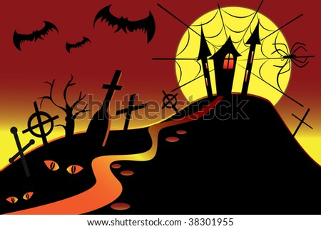 halloween illustration with castle & bats & spider - stock vector
