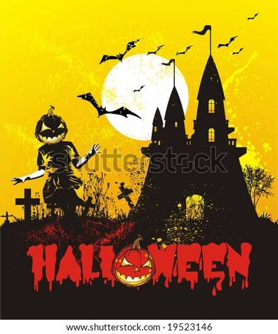 halloween illustration with castle & pumpkin head kid play in the cemetery - stock vector