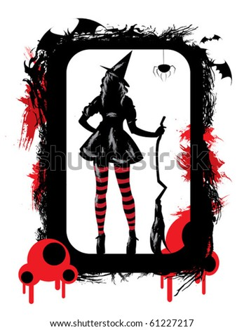 halloween illustration with grunge witch - stock vector