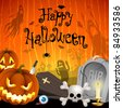 Halloween illustration with pumpkins, cemetery and place for text. Check my portfolio for raster version. - stock photo