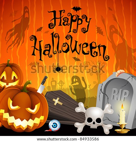Halloween illustration with pumpkins, cemetery and place for text. Check my portfolio for raster version. - stock vector