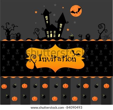 Halloween invitation - stock vector