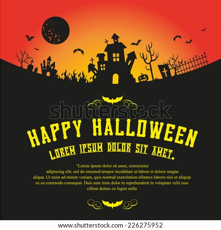 Halloween invitation background with a haunted house - stock vector