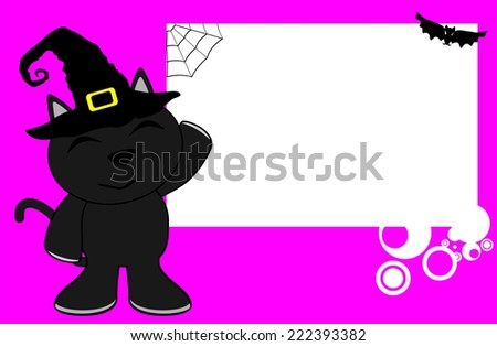 halloween invitation black cat witch background in vector format very easy to edit