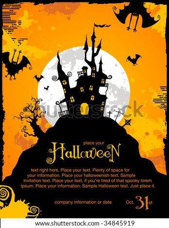 halloween invitation or background with spooky castle and bats - stock vector