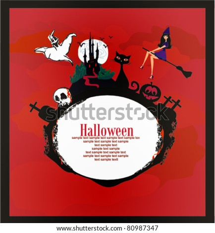 halloween invitation or background with spooky castle and bats ,  witch, cat,  skull and graves