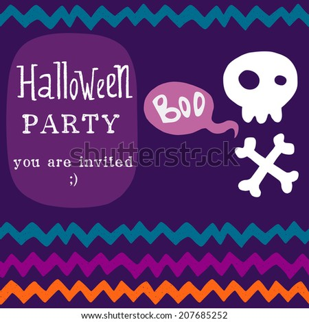 Halloween invitation or greeting card template with hand drawn cartoon skull with crossed bones and chevron pattern on the background. - stock vector