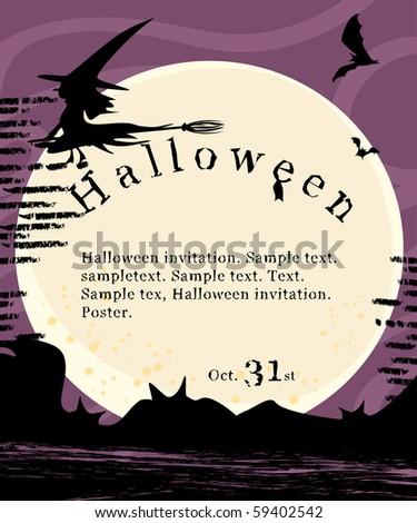 halloween invitation poster - stock vector