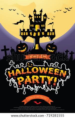 Halloween invitation vector eps 10 stock vector 719281555 shutterstock stopboris Gallery