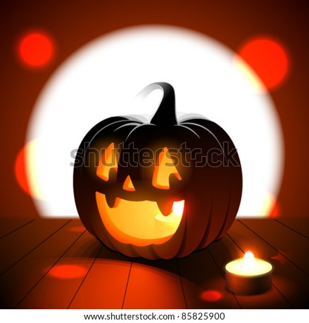 Halloween jack-o-lantern against full moon - stock vector