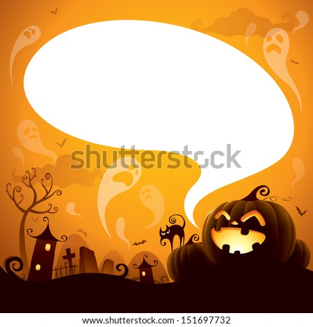 Halloween Jack-o-lantern with speech bubble - stock vector