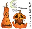 Halloween Jackolantern Pumpkins Bat Spider Web Crescent Moon Cartoon Illustration - stock photo