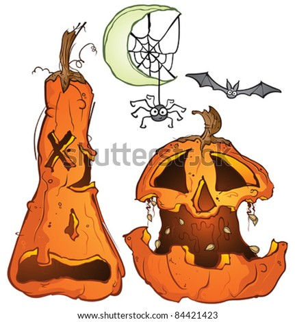 Halloween Jackolantern Pumpkins Bat Spider Web Crescent Moon Cartoon Illustration - stock vector