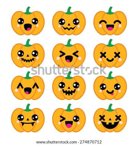 Halloween Kawaii cute pumpkin icons - vector - stock vector