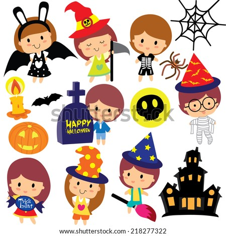 halloween kids clip art set - stock vector