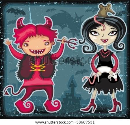 Halloween kids series 3 - stock vector