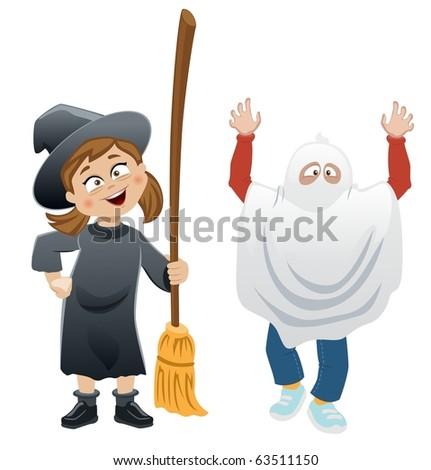 Halloween Kids-vector - stock vector