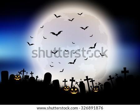 Halloween landscape moon, pumpkins and gravestones - stock vector
