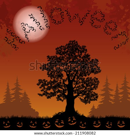 Halloween landscape with the inscription of bats, trees silhouettes, moon and pumpkins. Element of this image furnished by NASA, www.visibleearth.nasa.gov. Vector - stock vector