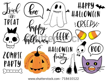 Halloween Lettering Set With Pumpkin, Skeleton, Ghost, Lettering, Cat And  Other.