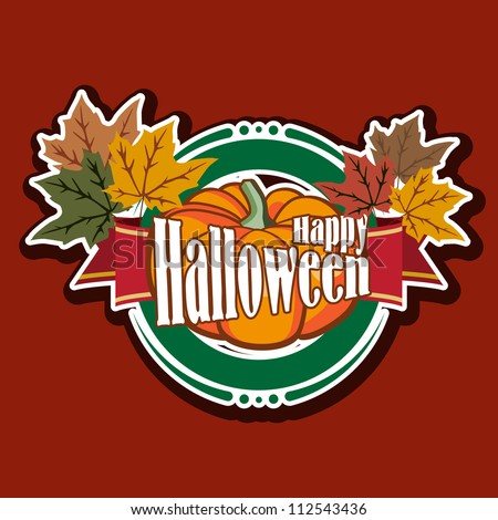 Halloween logo design with leaves and pumpkin. Perfect for labels or stickers. Grouped for easy editing. - stock vector