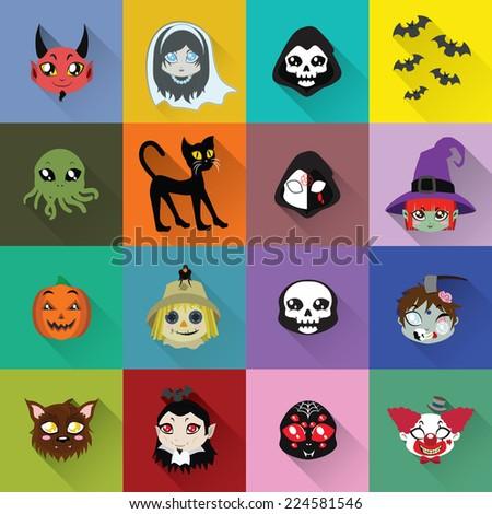 Halloween long shadow icons - stock vector