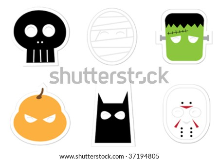 Halloween Mask Stickers - stock vector