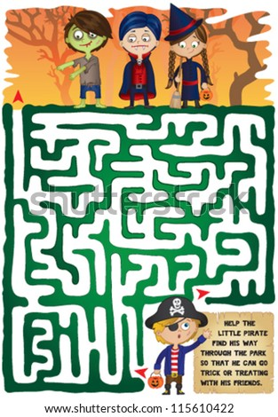 Halloween Maze for Kids. Help the little pirate find his way through the maze to meet his friends to go trick or treating on Halloween! - stock vector