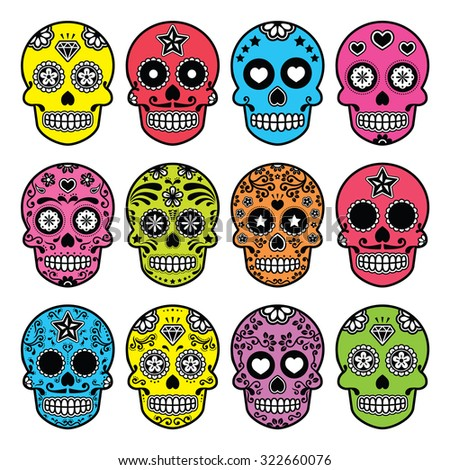 Halloween Mexican sugar skull, Dia de los Muertos icons set  - stock vector