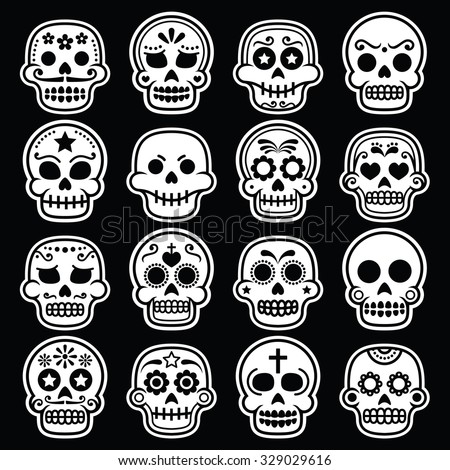 Halloween, Mexican sugar skull, Dia de los Muertos white icons on black - stock vector