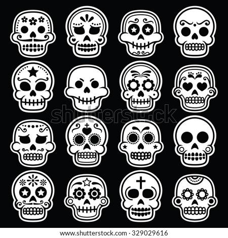 halloween mexican sugar skull dia de los muertos white icons on black - Mexican Halloween Skulls