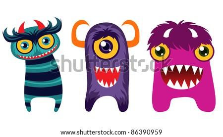 Halloween monster set - stock vector