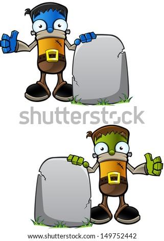 Halloween Monster - With Gravestone - stock vector