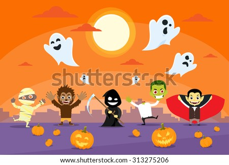 Halloween Monsters Banner Card Zobmbie Vampire Ghost Death Grim Reaper Werewolf Flat Vector Illustration - stock vector