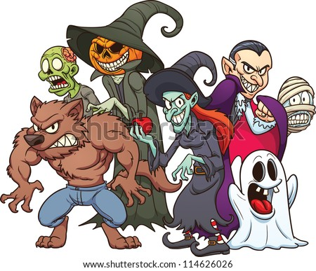 Halloween monsters. Cartoon vector illustration with simple gradients. All in a single layer. - stock vector