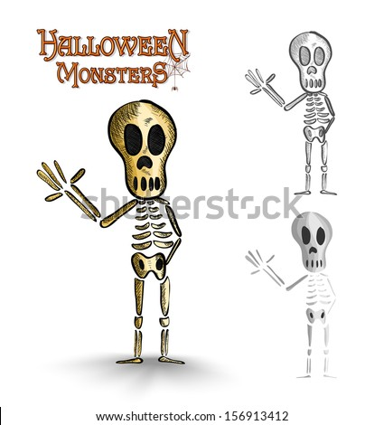 Halloween monsters scary human skeletons set. EPS10 Vector file organized in layers for easy editing. - stock vector