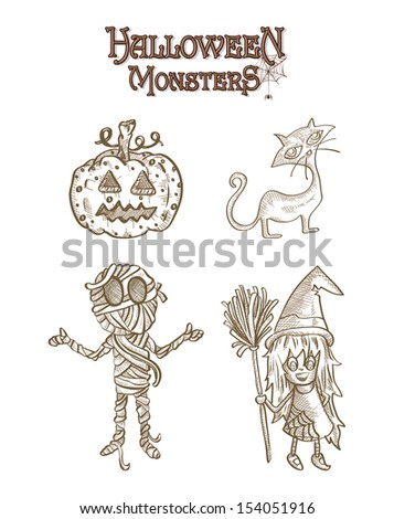 Halloween Monsters spooky cartoon creatures set. EPS10 Vector file organized in layers for easy editing. - stock vector