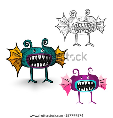 Halloween Monsters spooky hand drawn weird creatures set. EPS10 vector file organized in layers for easy editing. - stock vector