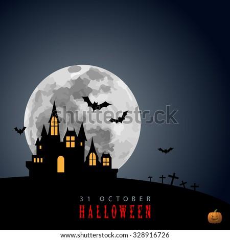 Halloween Moon Haunted House Castle Black White Graphic Design Vector Illustration EPS10 - stock vector