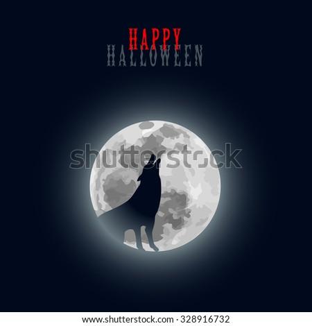 Halloween Moon Wolf Howl Black White Graphic Design Minimalistic Vector Illustration EPS10 - stock vector