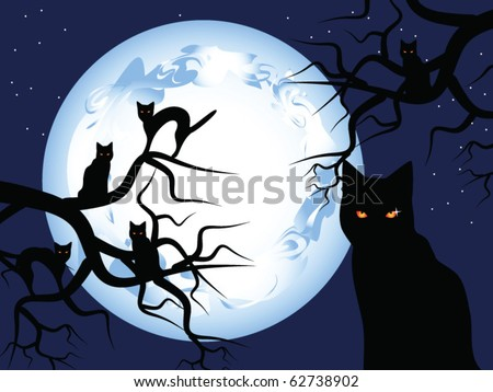 Halloween. Mystical night. The mysterious moon in the sky. Black cats sit on trees.