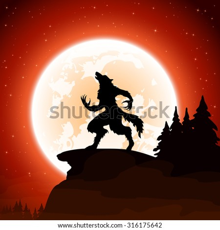 Halloween night and werewolf on Moon background, illustration. - stock vector