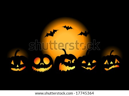 Halloween night background, vector illustration - stock vector