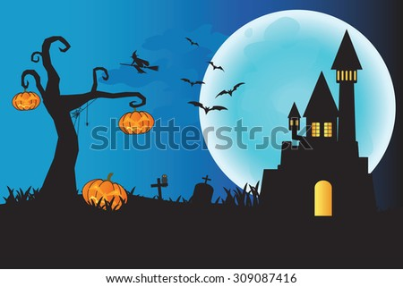 Halloween night background with castle on the moon background, pumpkins and witch, illustration.