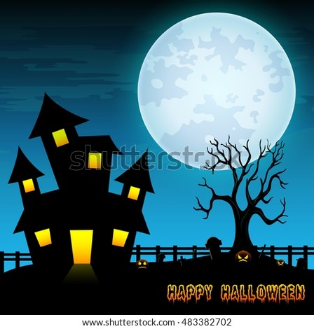 Halloween night background with creepy castle and dry tree in graveyard .Vector illustration
