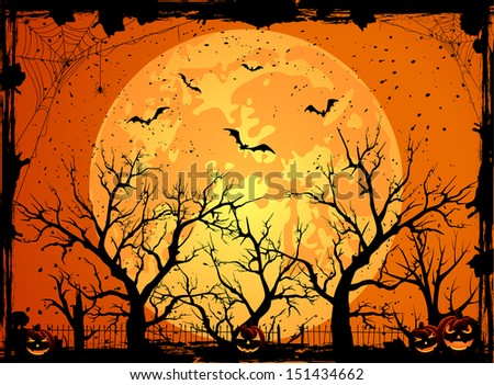 Halloween night background with full Moon and pumpkins, illustration